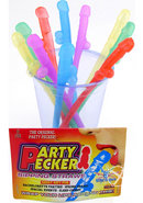 Party Pecker Straws Neon 10pk